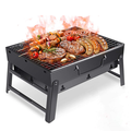 17'' Portable Barbecue Charcoal Grill Stainless Steel Charcoal BBQ Smoker Grill BBQ Stove Heat Resistant for Family Outdoor Camping Hiking Courtyard 16.9'' 8.6''11.4''-Black