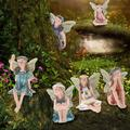 6 Pcs Flower Fairy Pixie Fly Wing Miniature Flower Fairy Figures Miniature Fairy Garden Accessories Dollhouse Ornament Garden Decoration Comes with Box