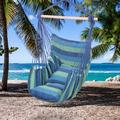Hanging Rope Hammock Chair Swing Seat for Any Indoor or Outdoor Spaces, Portable Garden Hammock Chair for Kids, Unique Hammock Hanging Chair with Two Soft Pillows, Durable Spreader Bar, Blue, Q9286