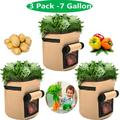 3-Pack 7 Gallon Garden Grow Bags Potato Planter Bag, Heavy Duty Container Thickened Nonwoven Fabric Planters, Fabric Planting Pots with Handles for Grow Vegetables, Potato, Carrot, Onion