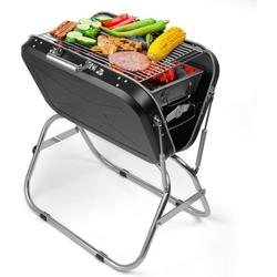 """Portable Charcoal Grill, SEGMART 23"""" Outdoor BBQ Grill Charcoal Small Portable Charcoal Grill, Folding Charcoal Barbecue Grill w/ Handle & Adjustable Grate, Stainless Steel, Easy to Clean, Black, H381"""