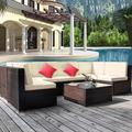 7-PCs Outdoor Patio Furniture Set, Brown Sofa, and Table Patio Set, Rattan Wicker Cushioned Sectional Sofa Chairs with Glass Table, Furniture Set for Garden Poolside Backyard, Beige Cushion, Y0943