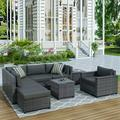 8 Pieces Patio PE Rattan Sofa Chair Set, Outdoor Sectional Seating Group, Low Back Deck Conversation Sofa Set w/Ottoman, 2 Tables and Gray Cushions, Porch Garden Poolside Balcony Use Furniture