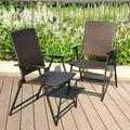 Sophia & William 2pcs Outdoor Patio Chairs Rattan Dining Chairs Supports 300 LBS Steel Frame Garden Outdoor wIth Armrest,Brown