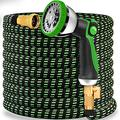"""Garden Hose Flexible Upgraded Expandable Garden Water Hose-Super Durable 3750D,4-Layers Latex,3/4"""" Nozzle Solid Brass Connectors with 10-Way Professional Zinc Water Spray Nozzle (50 FT, Green)"""
