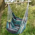 Garden Cotton Hanging Hammock Chair Rope Swing Chair with 2 Cushions Capacity 275 Lbs Green&Brown Stripe