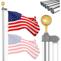 Spdoo 25ft Flag Pole Kit for House Outdoor Aluminum Telescopic Flag Pole with American Flag and Golden Ball 16 Gauge Telescoping Flagpole Fly 2 Flags