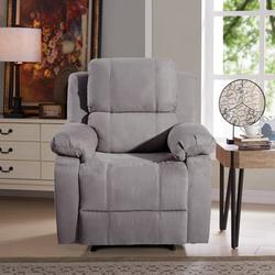 Leather Recliner Chair, BTMWAY Full Body Massage Lounge Reclining Sofa Chair with 8 Vibration Motors&Waist Heating&3 Angles Chairback Adjustments, Single Sofa Reading Lounge Chaise Chair, Gray, R591