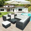 Patio Furniture Sectional Sofa Set, 8 PCS Rattan Wicker Sofa Set, Premium All Weather Sofa Couch Conversation Set w/Glass Table and 14 Zippered Cushions for Deck Garden Backyard Poolside, K2705