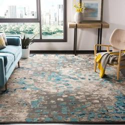 Safavieh Monaco Collection Grey and Light Blue Square Area Rug, 3'