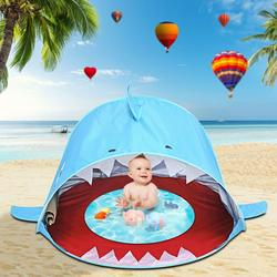 Lanhui Baby Beach Tent Pool,Shark Portable Sun Shelter Waterproof Tent For Toddler, with Pool UPF 50+ UV Protection & Waterproof Sun Tent Beach Shade Baby Pool Tent for Toddler Aged 3-48 Months