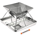 Foldable BBQ Grill - Portable Stainless Steel Charcoal Grill Outdoor Barbecue Stove 32x32x22cm for 2-4 People, Anti-Scald Design, Silver