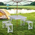 4-Seat Set Folding Outdoor Picnic Table Chair Patio Furniture w/Umbrella Hole