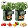 Willstar 2 Pack Potato Grow Bags, Potato Grow Planter Planter Bag 7/10 Gallon, Garden Bags, Fabric Planting Pots with Handles, Potato Planter Bag with Access Flap, Breathable Nonwoven Growing Gags