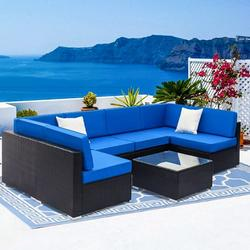 7PCS Outdoor Patio Furniture, All-Weather Wicker Patio Sectional Sofa Set, Rattan Sofa Set for Backyard, Durable Outdoor Garden Cushioned Seat with Coffee Table, Bistro Table Set for Poolside, Q8161