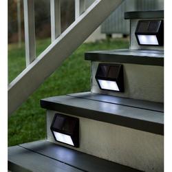 Solar Powered Durable Step Lights, Set of 4, Bronze