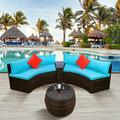 4 Pieces Outdoor Sectional Patio Furniture Set, PE Rattan Wicker Sofa Chair Set with Nylon Waterproof Cover, Washable Seat Cushions Cover