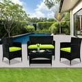 4-Piece Patio Furniture Sets in Patio & Garden, Outdoor Wicker Sofa PE Rattan Chair Garden Conversation Set, Patio Set for Backyard with 2 Single Sofa, 1 Loveseat, Tempered Glass Table, Q16564