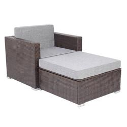 Promotion Clearance Outdoor Patio Garden 2-pc Wicker Rattan Sectional Sofa Lounge Set Single Sofa and Ottoman Sofa,Durable Steel Frame Waterproof Cushion Makes Your Garden Delicate (Brown)