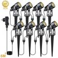 LED Landscape Lights Pathway Lights Low Voltage Spotlights LED Landscape Lights Warm White Waterproof for Driveway, Yard, Lawn, Patio, Outdoor Garden Lights METICH(8 Pack)