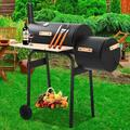 enyopro Outdoor Charcoal Grill and Smoker, Charcoal Barbecue Grill with Large Cooking Surface, Oil Drum Charcoal Furnace & Offset Smoker Combo with Wheel, for Camping Garden Yard Cooking Picnic, K3753