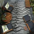 Couristan 8' x 2' Gray Animal Print Dolce Bengal Ivory Outdoor Rug