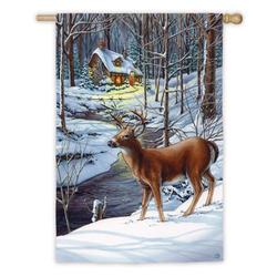 Evergreen Enterprises, Inc Snow Scene Deer and Cottage Garden Flag