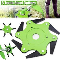 Trimmer Head 6 Steel,Garden Tool Brush Cutter Cutting Head Blade 65Mn Lawn Mower Head Accessories Lawn Mower Grass Weed Eater Tool