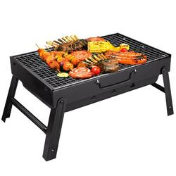 Yazhmsa 17x11.4x8.7 Inch Portable Charcoal Grill, Charcoal BBQ Grill for Camping Picnic,Stainless Steel Folding Charcoal Barbecue Grill,Indoor and Outdoor Charcoal Grill with Smoker Charco