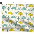 Umbrella Blue Green Yellow Rainy Day Rain Fabric Printed by Spoonflower BTY