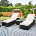 3PCS Outdoor Chaise Lounge, Patio Wicker Chaise Lounge with Glass Coffee Table, PE Rattan Lounge Chair with Adjustable Back and Feet, Cushioned Chaise Lounge Patio Furniture Set for Poolside, Q17002
