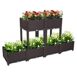 Set of 6 Raised Planter Box, Free Splicing Raised Bed Planter Kit, Vegetable/Flower/Herb Elevated Garden Bed with Self-watering Disk and Drain Holes, Perfect for Garden, Patio, Balcony, JA2498