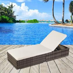 Patio Reclining Chaise Adjustable Rattan Chaise Lounge Chair Sunbed For Garden Pool