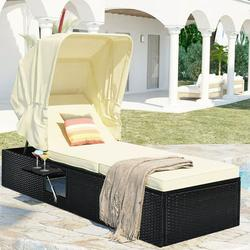 enyopro Wicker Lounge Chair with Canopy, 5 Positions Adjustable Patio Chaise Lounge, Outdoor Pool Lounge Chair with Cup Holder, Outside Rattan Sun Lounger for Balcony, Porch, Deck, Poolside, JA2905