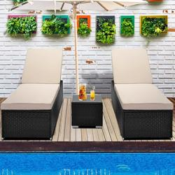 3-Piece Outdoor Patio Furniture Set Chaise Lounge, Patio Cushioned Reclining Rattan Lounge Chair Chaise Couch with Glass Coffee Table, Adjustable Back and Feet, Lounger Chair for Pool Garden, Q17026