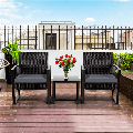 Yaheetech Set of 3 Wicker Chairs & Table Modern PE Rattan Chair Balcony/Patio/Bistro Furniture Conversation Sets Including a Coffee Table for House/Porch/Garden/Backyard/Outdoor Use