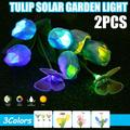 Solar Flower Lights Garden Outdoor - 2Pcs Waterproof Solar Powered Lamps with 4 Tulip Auto Color Changing, S-morebuy