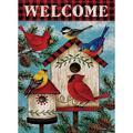 Welcome Cardinal Christmas Garden Flag, Home Decorative Spring Outdoor Flag Sign, Rustic Burlap Farmhouse Yard Garden Flag Vintage Winter Outside Decoration Home Decor Flag 12.5 x 18