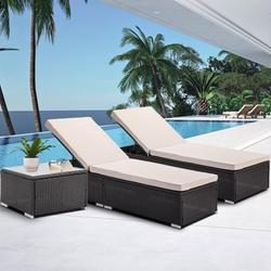 Outdoor Lounge Chairs, 3Pcs Patio Chaise Lounge Chairs Furniture Set with Adjustable Back and Coffee Table, All-Weather Rattan Reclining Lounge Chair for Beach, Backyard, Porch, Garden, Pool, L4550