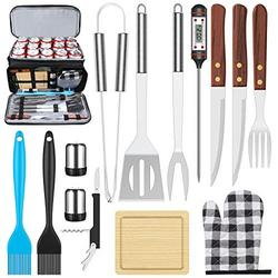 AISITIN BBQ Grill Accessories with Insulated Cooler Bag, Grill Utensils Set BBQ Grilling Accessories BBQ Tools Set, Stainless Steel Grill Set for Smoker, Camping, Kitchen Grill Tool Set for Men