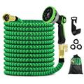 """50Ft Expandable Garden Hose, Upgraded Leakproof Lightweight No-Kink Water Hose, Flexible Water Hose with 4-Layered Latex Core, 3/4""""Solid Brass Fittings, with Spray Nozzle, Bag & Holder"""