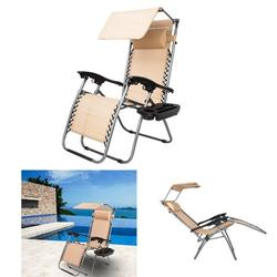 Multifunction Zero Gravity Lounge Chair with Awning Leisure Chair Comfortable Safe Recliner for Living Room,Garden,Beach Holiday KHAKI