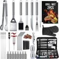 34PCS BBQ Grill Tools Set Stainless Steel Grilling Accessories with Spatula, Tongs, Skewers for Barbecue, Camping, Kitchen, Complete Premium Grill Utensils Set in Storage Bag