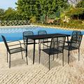 Outdoor Dine Set, 7 Piece Outdoor Patio Furniture Set with Rectangle Table, Black Metal Patio Table and Chairs Set, Patio Conversation Set, Patio Dining Set for Garden, Balcony, Pool, Backyard, W16711