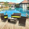 4 Piece Outdoor Furniture Wicker Patio Garden Dining Sets, Patio Furniture Rattan Furniture Sofa Sets with Seat Cushions & Tempered Glass Coffee Table, for Porch Poolside Backyard Garden, S5604
