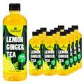 Lemon Ginger Tea With 20 Mg Hemp-Infused Tea, Lemon Ginger Green Tea, Ready To Drink Ginger Lemon Tea With Essential Fatty Acids - 16.9 Fl Oz, Pack Of 12