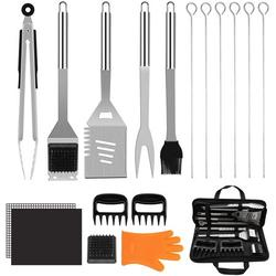 BBQ Grill Accessories Set,18 PCS Stainless Steel Grilling Tools,16 Inches Grill Utensils Set for Men & Women,Come with Spatula, Tongs, Skewers for Barbecue, Camping (Barbecue Tool Sets)