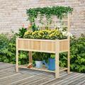 Suzicca Wooden Planter Raised Elevated Garden Bed Planter Flower Herb Boxes Outdoor/Indoor