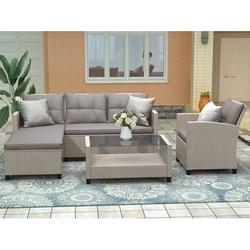 4 Piece Outdoor Patio Sofa Set, SEGMART Wicker Outdoor Furniture Set w/ Coffee Table, Patio Conversation Set w/ Cushions and Sofa Chair, Outdoor Sectional Couch for Lawn Garden Poolside, Brown, H282