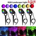 1/2/4 Pack 20W LED Landscape Lighting with Remote Control , Outdoor Low Voltage Landscape Lights RGB IP66 Waterproof, Pathway Garden Wall Outdoor Spotlights for Backyard,Lawn,Patio,Yard